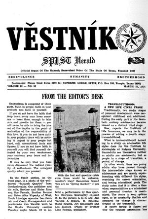 Primary view of object titled 'Věstník (West, Tex.), Vol. 62, No. 13, Ed. 1 Wednesday, March 27, 1974'.