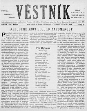 Primary view of object titled 'Věstník (West, Tex.), Vol. 36, No. 32, Ed. 1 Wednesday, August 4, 1948'.