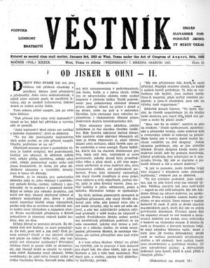 Primary view of object titled 'Věstník (West, Tex.), Vol. 39, No. 10, Ed. 1 Wednesday, March 7, 1951'.