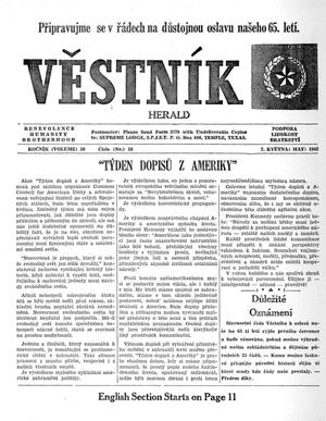 Primary view of object titled 'Věstník (West, Tex.), Vol. 50, No. 18, Ed. 1 Wednesday, May 2, 1962'.