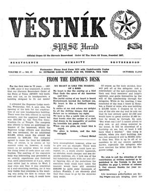 Primary view of object titled 'Věstník (West, Tex.), Vol. 57, No. 42, Ed. 1 Wednesday, October 15, 1969'.