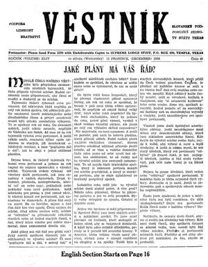 Primary view of object titled 'Věstník (West, Tex.), Vol. 44, No. 49, Ed. 1 Wednesday, December 12, 1956'.