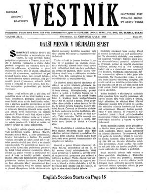 Primary view of object titled 'Věstník (West, Tex.), Vol. 44, No. 27, Ed. 1 Wednesday, July 11, 1956'.