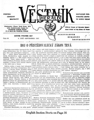 Primary view of object titled 'Věstník (West, Tex.), Vol. 45, No. 36, Ed. 1 Wednesday, September 4, 1957'.