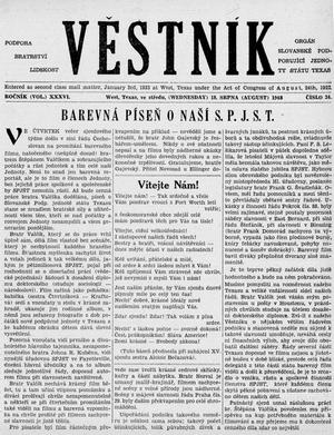 Primary view of object titled 'Věstník (West, Tex.), Vol. 36, No. 34, Ed. 1 Wednesday, August 18, 1948'.