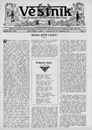 Primary view of object titled 'Věstník (West, Tex.), Vol. 22, No. 45, Ed. 1 Wednesday, September 19, 1934'.