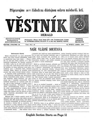 Primary view of object titled 'Věstník (West, Tex.), Vol. 50, No. 16, Ed. 1 Wednesday, April 18, 1962'.