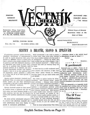 Primary view of object titled 'Věstník (West, Tex.), Vol. 48, No. 16, Ed. 1 Wednesday, April 20, 1960'.