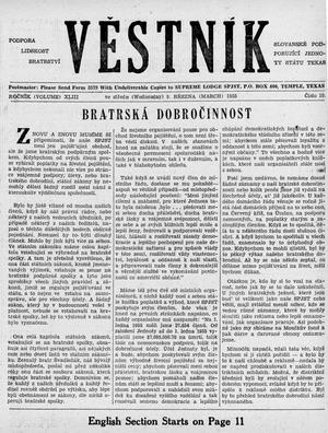 Primary view of object titled 'Věstník (West, Tex.), Vol. 43, No. 10, Ed. 1 Wednesday, March 9, 1955'.