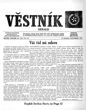 Primary view of object titled 'Věstník (West, Tex.), Vol. 50, No. 46, Ed. 1 Wednesday, November 14, 1962'.
