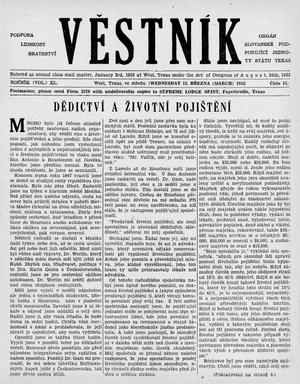 Primary view of object titled 'Věstník (West, Tex.), Vol. 40, No. 11, Ed. 1 Wednesday, March 12, 1952'.