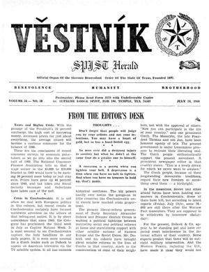Primary view of object titled 'Věstník (West, Tex.), Vol. 56, No. 30, Ed. 1 Wednesday, July 24, 1968'.