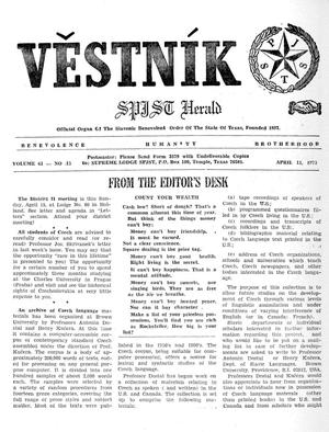 Primary view of object titled 'Věstník (West, Tex.), Vol. 61, No. 15, Ed. 1 Wednesday, April 11, 1973'.