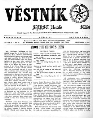 Primary view of object titled 'Věstník (West, Tex.), Vol. 59, No. 38, Ed. 1 Wednesday, September 22, 1971'.