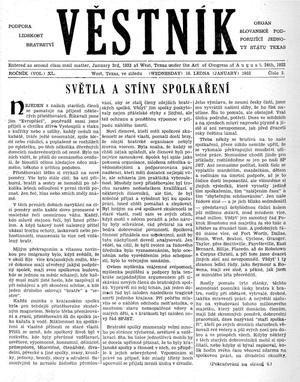 Primary view of object titled 'Věstník (West, Tex.), Vol. 40, No. 3, Ed. 1 Wednesday, January 16, 1952'.