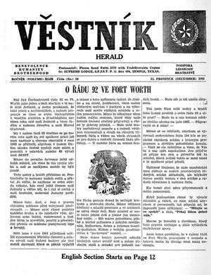 Primary view of object titled 'Věstník (West, Tex.), Vol. 49, No. 50, Ed. 1 Wednesday, December 13, 1961'.