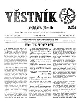 Primary view of object titled 'Věstník (West, Tex.), Vol. 57, No. 51, Ed. 1 Wednesday, December 17, 1969'.
