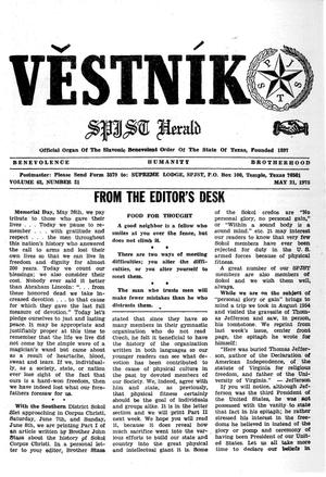 Primary view of object titled 'Věstník (West, Tex.), Vol. 63, No. 21, Ed. 1 Wednesday, May 21, 1975'.