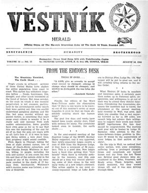 Primary view of object titled 'Věstník (West, Tex.), Vol. 54, No. 32, Ed. 1 Wednesday, August 10, 1966'.