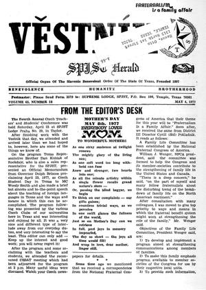 Primary view of object titled 'Věstník (West, Tex.), Vol. 65, No. 18, Ed. 1 Wednesday, May 4, 1977'.