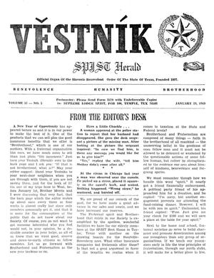 Primary view of object titled 'Věstník (West, Tex.), Vol. 57, No. 5, Ed. 1 Wednesday, January 29, 1969'.