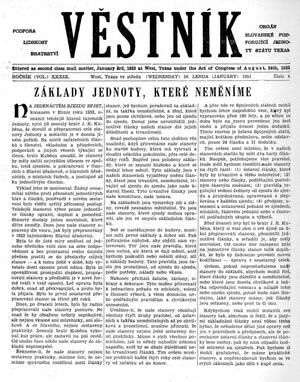 Primary view of object titled 'Věstník (West, Tex.), Vol. 39, No. 4, Ed. 1 Wednesday, January 24, 1951'.
