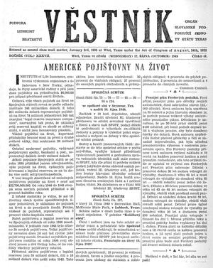 Primary view of object titled 'Věstník (West, Tex.), Vol. 37, No. 41, Ed. 1 Wednesday, October 12, 1949'.