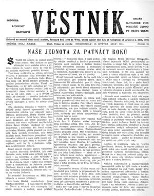 Primary view of object titled 'Věstník (West, Tex.), Vol. 39, No. 20, Ed. 1 Wednesday, May 16, 1951'.