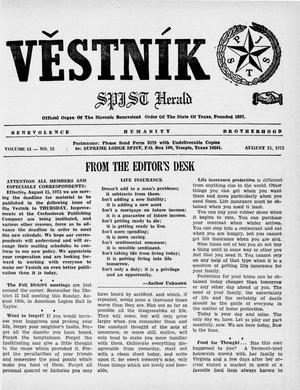 Primary view of object titled 'Věstník (West, Tex.), Vol. 61, No. 33, Ed. 1 Wednesday, August 15, 1973'.