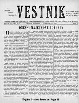 Primary view of object titled 'Věstník (West, Tex.), Vol. 43, No. 15, Ed. 1 Wednesday, April 13, 1955'.
