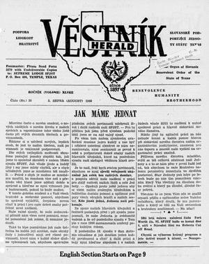 Primary view of object titled 'Věstník (West, Tex.), Vol. 48, No. 30, Ed. 1 Wednesday, August 3, 1960'.