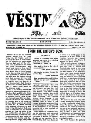 Primary view of object titled 'Věstník (West, Tex.), Vol. 65, No. 34, Ed. 1 Wednesday, August 24, 1977'.