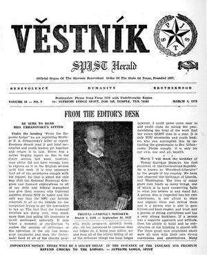 Primary view of object titled 'Věstník (West, Tex.), Vol. 58, No. 9, Ed. 1 Wednesday, March 4, 1970'.