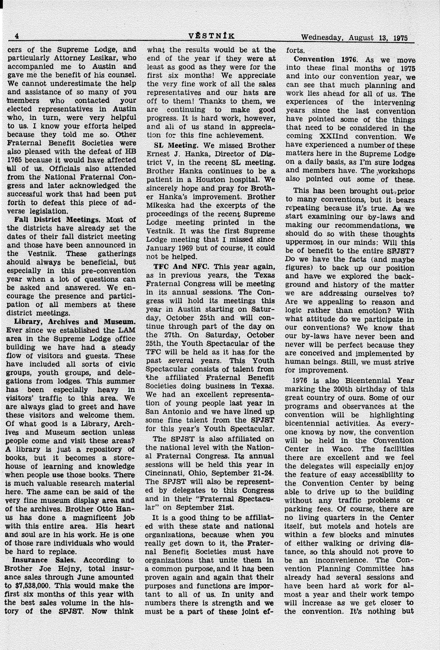 Věstník (West, Tex.), Vol. 63, No. 32, Ed. 1 Wednesday, August 13, 1975                                                                                                      [Sequence #]: 4 of 32