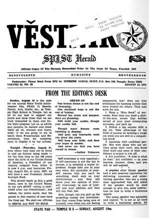 Primary view of object titled 'Věstník (West, Tex.), Vol. 62, No. 32, Ed. 1 Wednesday, August 14, 1974'.