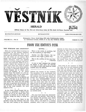 Primary view of object titled 'Věstník (West, Tex.), Vol. 54, No. 12, Ed. 1 Wednesday, March 23, 1966'.