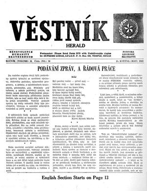 Primary view of object titled 'Věstník (West, Tex.), Vol. 51, No. 20, Ed. 1 Wednesday, May 15, 1963'.