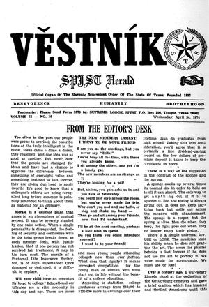 Primary view of object titled 'Věstník (West, Tex.), Vol. 62, No. 16, Ed. 1 Wednesday, April 24, 1974'.
