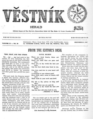 Primary view of object titled 'Věstník (West, Tex.), Vol. 55, No. 49, Ed. 1 Wednesday, December 6, 1967'.