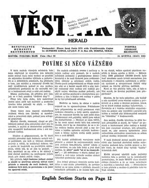 Primary view of object titled 'Věstník (West, Tex.), Vol. 49, No. 22, Ed. 1 Wednesday, May 31, 1961'.