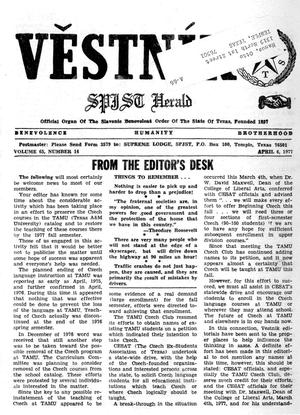 Primary view of object titled 'Věstník (West, Tex.), Vol. 65, No. 14, Ed. 1 Wednesday, April 6, 1977'.