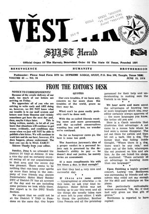 Primary view of object titled 'Věstník (West, Tex.), Vol. 62, No. 24, Ed. 1 Wednesday, June 19, 1974'.