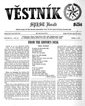 Primary view of Věstník (West, Tex.), Vol. 60, No. 14, Ed. 1 Wednesday, April 5, 1972