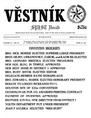 Primary view of object titled 'Věstník (West, Tex.), Vol. 56, No. 25, Ed. 1 Wednesday, June 19, 1968'.