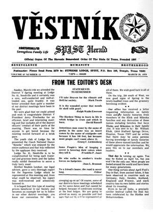 Primary view of object titled 'Věstník (West, Tex.), Vol. 67, No. 13, Ed. 1 Wednesday, March 28, 1979'.