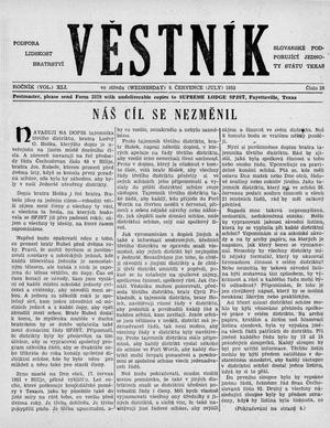 Primary view of object titled 'Věstník (West, Tex.), Vol. 41, No. 28, Ed. 1 Wednesday, July 8, 1953'.