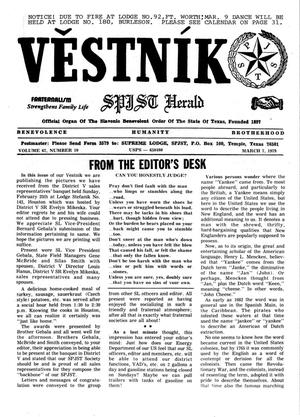 Primary view of object titled 'Věstník (West, Tex.), Vol. 67, No. 10, Ed. 1 Wednesday, March 7, 1979'.