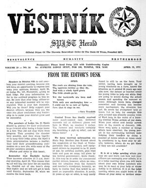 Primary view of object titled 'Věstník (West, Tex.), Vol. 59, No. 16, Ed. 1 Wednesday, April 21, 1971'.