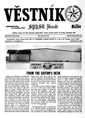 Primary view of object titled 'Věstník (West, Tex.), Vol. 66, No. 34, Ed. 1 Wednesday, August 23, 1978'.