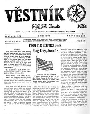 Primary view of object titled 'Věstník (West, Tex.), Vol. 60, No. 23, Ed. 1 Wednesday, June 7, 1972'.